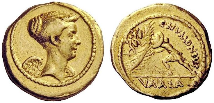 C. Numonius Vaala. Aureus, 8.11 g, 41 BC. Bust of Victory r. / C·NVMONIVS. Soldier rushing l., attacking wall defended by two further soldiers. In exergue, VAALA. Babelon Numonia 1. C 2. Bahrfeldt 70.6 (this coin). Sydenham 1086. Gruber 4215. RBW –. Crawford 514/1 (these dies). Calicó 27 (these dies). Extremely rare, 15 specimens known of which apparently only 3 are in private hands. Struck on a very broad flan, unobtrusive edge marks, otherwise a very pleasant good very fine.