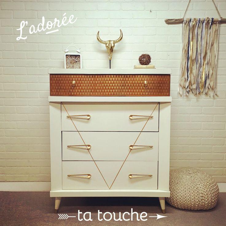 commode vintage blanc, bois et or par ta touche - relooking de meubles (atelier situé à Chambly)