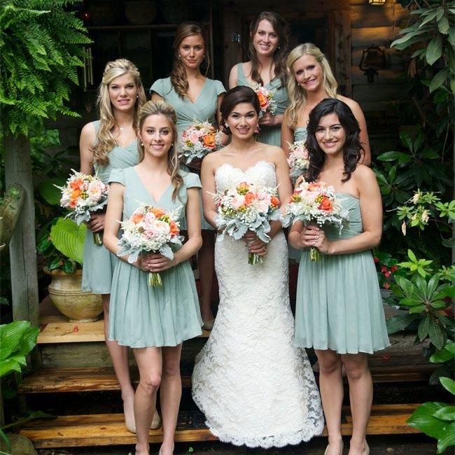Dusty Shale Bridesmaid Dresses // Blume Photography // http://www.theknot.com/weddings/album/144152
