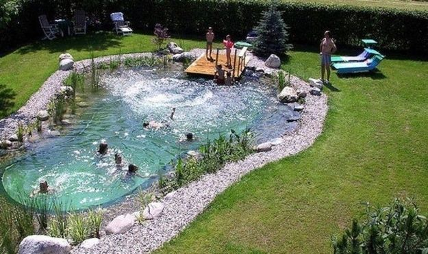 "A ""Swimpond"" a man-made swimming pool that self cleans and doesn't use bleach or chemicals"