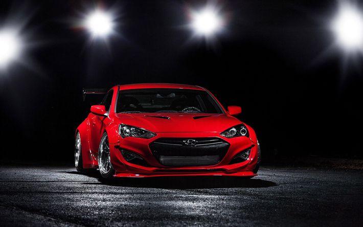 Télécharger fonds d'écran Hyundai Genesis Coupé, en 2017, les voitures, le tuning, la Hyundai Coupé, voitures de sport, Hyundai