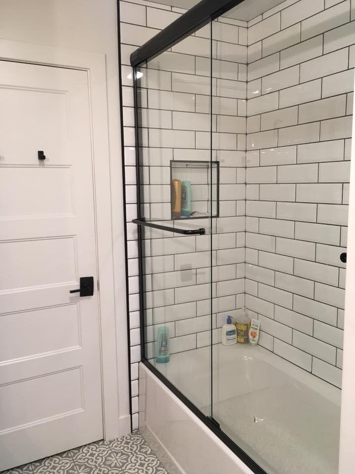 Beveled Edge Subway Tile With Dark Gray Grout And Matte Black Shower Door Black Shower Doors Bathrooms Remodel Bathroom Makeover