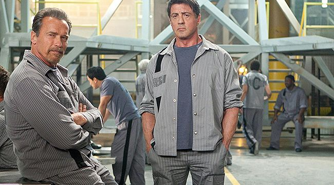 Whopperjaw Movie Review: Escape Plan  We have to admit we took a certain guilty pleasure in seeing meatheads Arnold Schwarzenegger and Sylvester Stallone team up for the by-the-number prison break thriller Escape Plan. These burly dudes aren't nearly as buff as they once were, but they still love to brawl.
