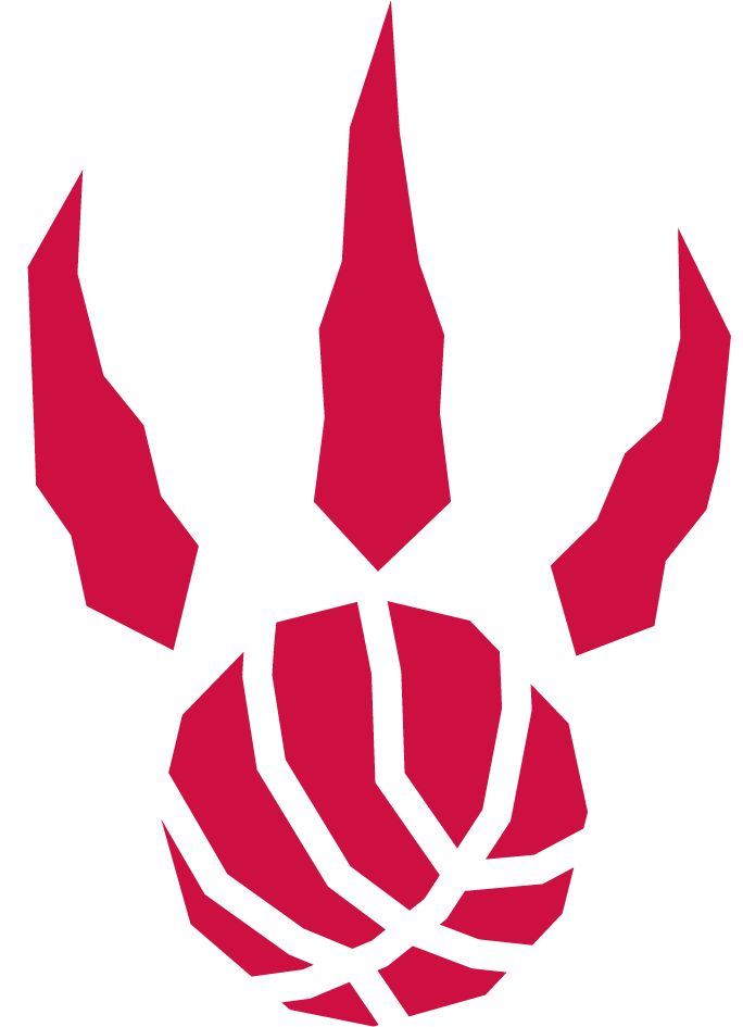 Toronto Raptors Alternate Logo (1996) - A red raptor paw print with basketball seams