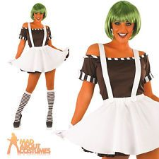 Ladies Sexy Oompa Loompa Umpa Lumpa Factory Worker Womens Fancy Dress Costume