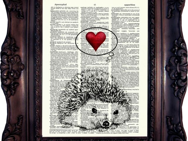 This adorable hedgehog is the epitome of cuteness. A Hedgehog in Love is a black and white vintage style art print with the red heart creating a splash of color! Printed on a unique dictionary page, by Old Stye Designs on MyMisi. #antique #book #dictionary #art, #vintage #print, #teens #home #decor