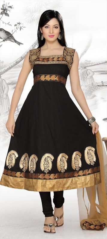 413596, Anarkali Suits, Cotton, Resham, Lace, Black and Grey Color Family