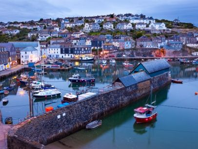 Fishing harbour at Mevagissey Cornwall England