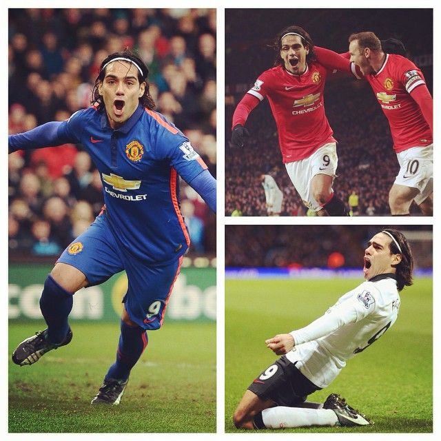 Red, white and blue. Falcao is the only #mufc player who has scored competitive goals in all three kits this season.