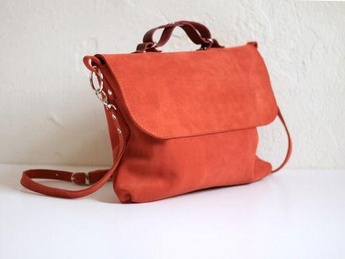 Ярко-оранжевая сумка из замши под размер A4 Kokosina leather bag
