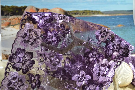 Purple floral tulle lace wide by TheQuiltedCheese on Etsy
