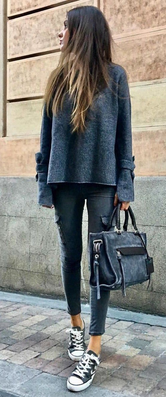 #fall #outfits women's gray sweatshirt with gray fitted cargo pants