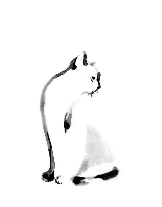 Gato impresión minimalista impresión pintura de gato