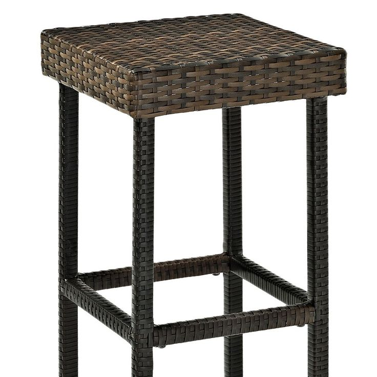 "Palm Harbor Outdoor Wicker Bar Height Stool (Set of 2), 29"", Brown"