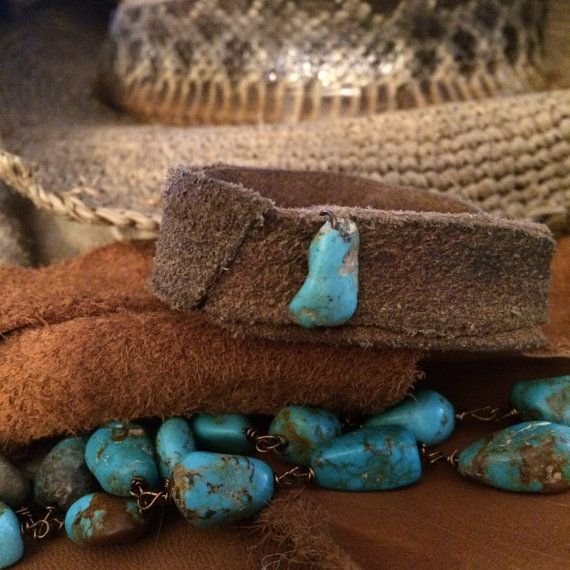 Hippie band on old leather with turquoise