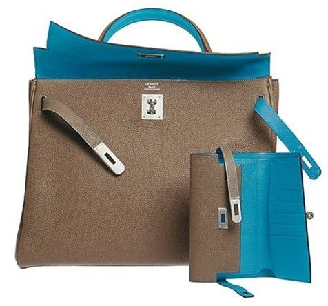 Hermes Birkin taupe brown bag and wallet  |  hermes bags
