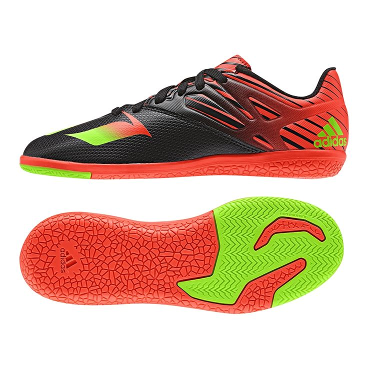To play like Messi, wear what he wears. The Adidas youth Messi indoor soccer shoes can help you dominate the hard court. Featuring the black and red design, the shoes also have Messi's logo on the forefoot. Order your new Adidas indoor soccer shoes today at SoccerCorner.com  http://www.soccercorner.com/Adidas-Messi-15-3-Youth-Indoor-Soccer-Shoes-p/siyadaf4847.htm