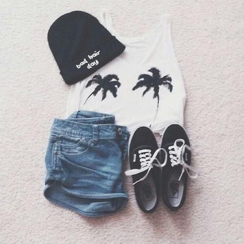 edgy outfit - palm trees - bad hair day