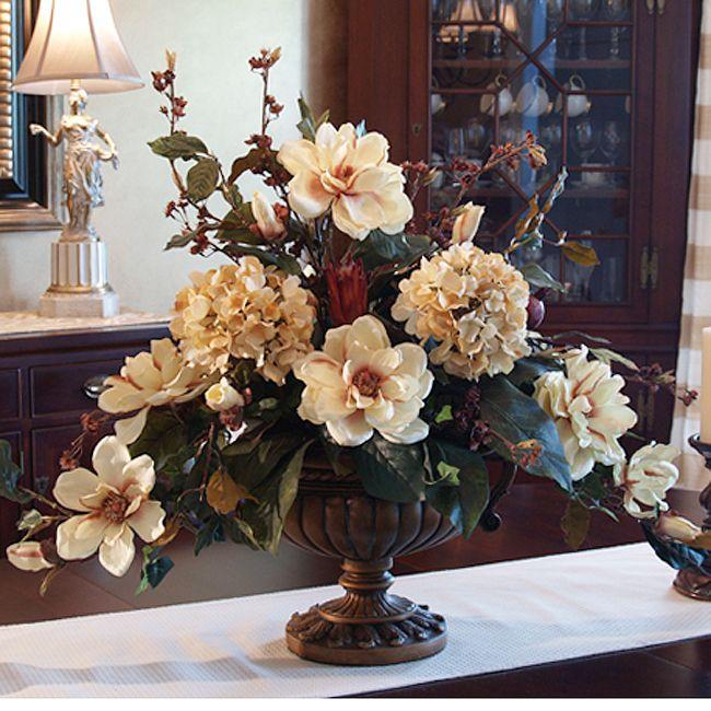 Large elegant magnolia silk floral arrangement ar263 Silk flower arrangements for living room