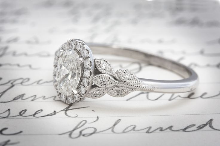 Vintage Oval Engagement Ring with Rustic Leafy Detail by Emily Chelsea Jewelry