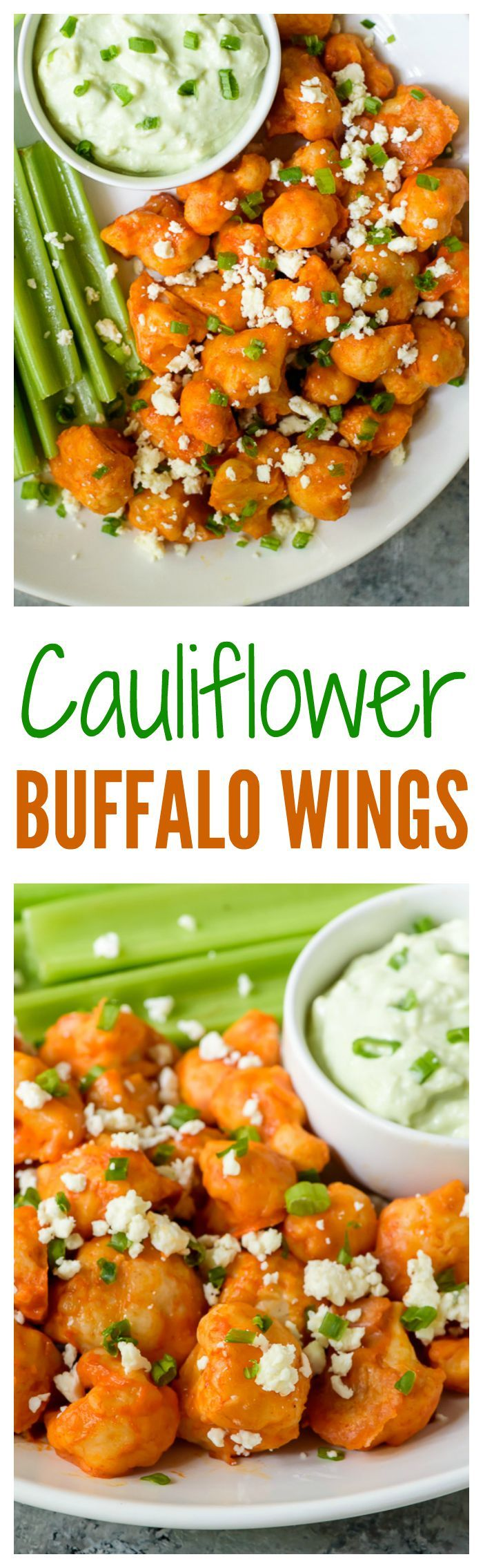 Cauliflower Buffalo Wings with Blue Cheese Avocado Dip  Light and crispy baked cauliflower bites with spicy Buffalo sauce  The perfect football party appetizer