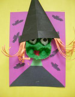 Een heksenhoofd gemaakt van een groen eierdoosje. Heksenhoed vouwen. Mooi effect zo!