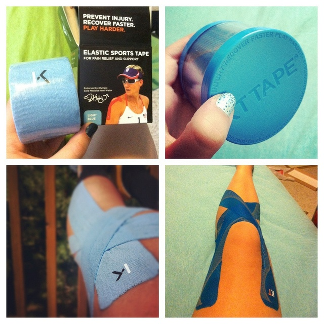 KT Tape knee application. Gonna get some to wear on hikes, and other more strenuous activities so I know I'm safe.
