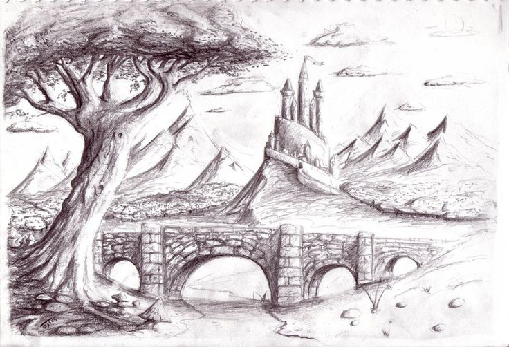 Pencil Drawing Nature Scenery