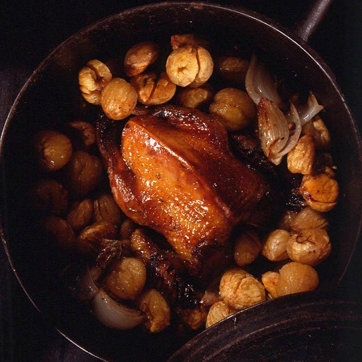 Découvrez la recette Pigeon ramier rôti en cocotte et châtaignes sur cuisineactuelle.fr.