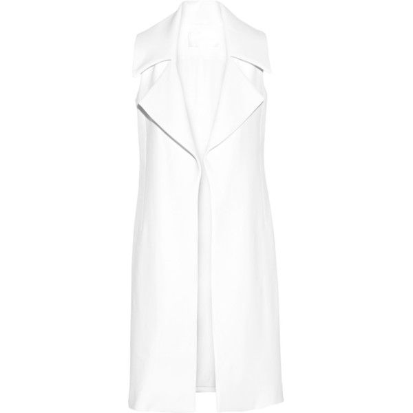 Cushnie et Ochs Stretch-crepe gilet ($2,525) ❤ liked on Polyvore featuring outerwear, vests, vest, white, white vest, cushnie et ochs, vest waistcoat, white waistcoat and gilet vest