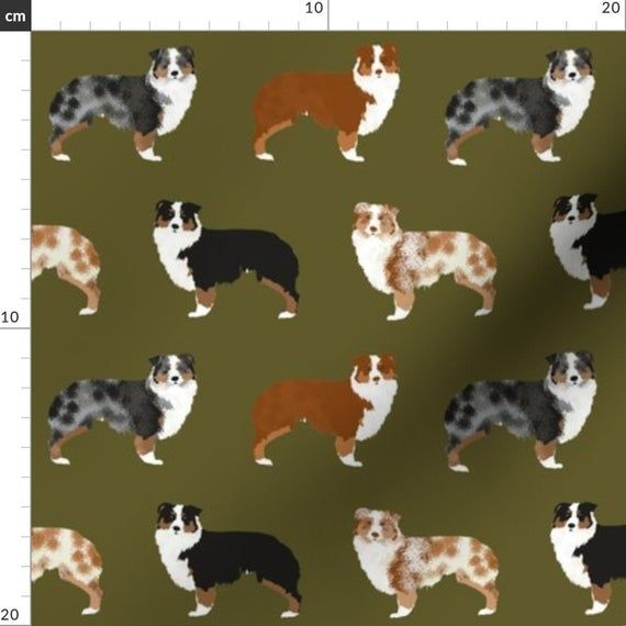 Astralian Shepherd Collage Aussies Dog Fabric Printed by Spoonflower BTY
