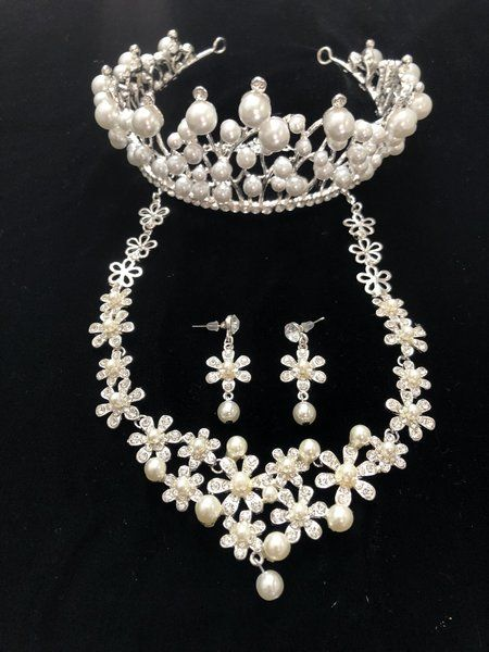 294a01256 Wedding Accessories, Bridal Hair Accessories, Pearl Tiara Crown, Pear Rhinestone  Necklace and Earring Set, wedding jewelry, wedding hair accessories