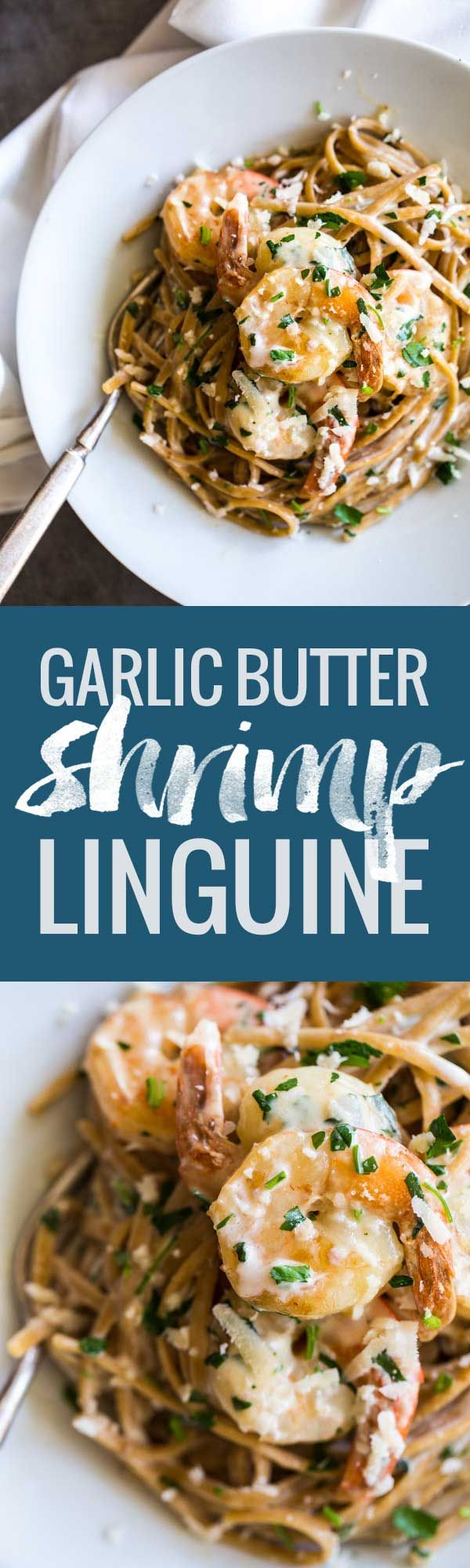 Garlic Butter White Wine Shrimp Linguine - herbs and shrimp tossed together with creamy pasta. | pinchofyum.com