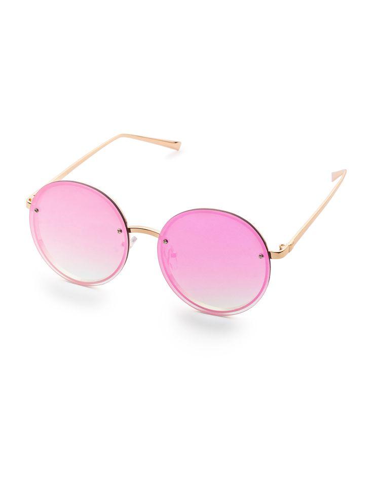 Gafas de sol con marco dorado y lentes redondos violeta-Spanish SheIn(Sheinside)