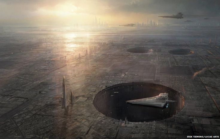 Erik Tiemens: Coruscant surface Imperial Portal. Concept art for Star Wars 1313 proposed video game (Digital)