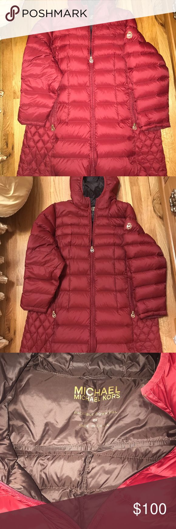 Michael Kors puffer coat with gold accent Worn once. In great condition KORS Michael Kors Jackets & Coats Puffers