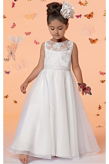 A-line Scoop Applique Organza Flower Girl Dresses