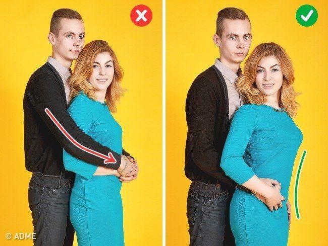 Вполоборота, правым плечом вперед. Фото5.   Как уже говорили, старайтесь не закрывать рукой партнера. Крепкие объятия будут выглядеть так, будто вы давите на девушку. Правильная поза — встать вполоборота, но не боком к камере, расправить плечи и слегка обнять партнершу.