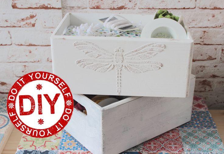 DIY: Selbst gemachte Strukturpaste (3D-Ornamente auf Holzboxen) ★ Deko I...