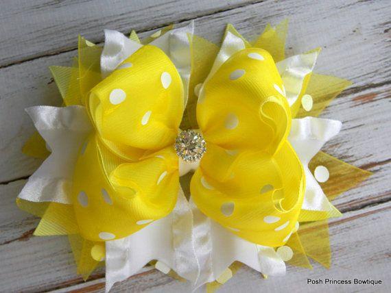 Girls hair bows Yellow hair bows Dressy bows by PoshPrincessBows1, $12.99