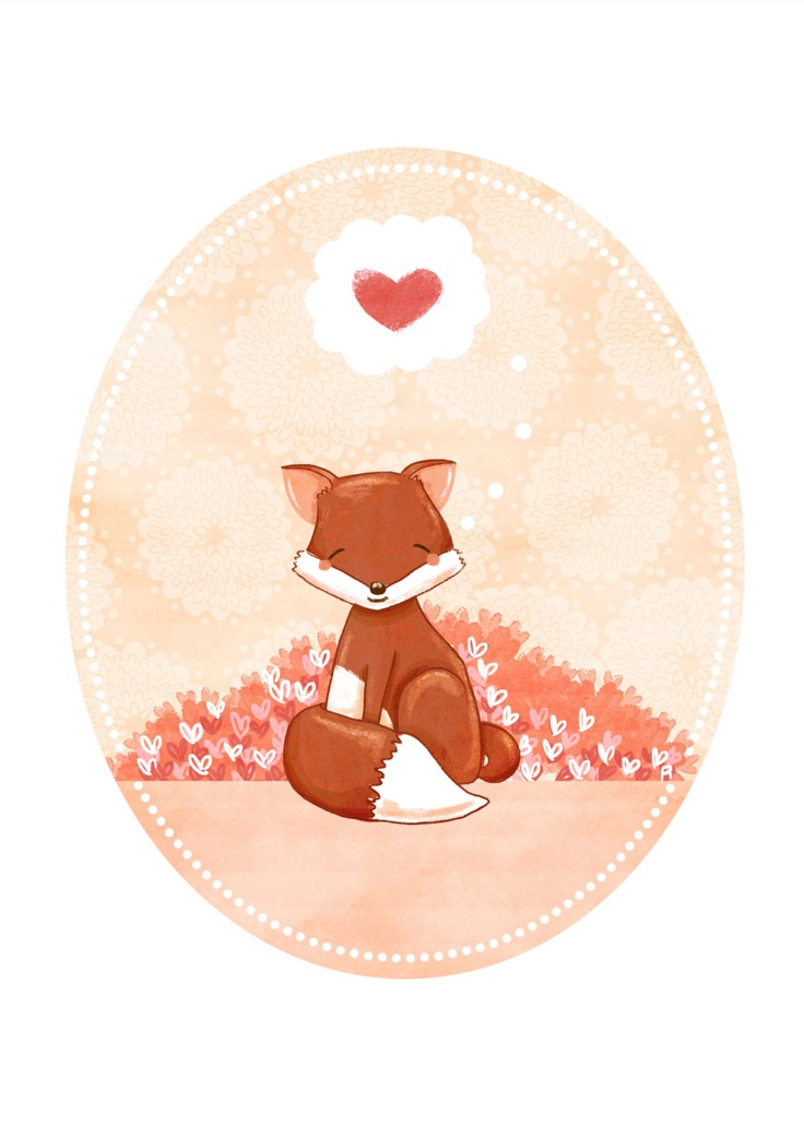 I think foxes will be the new phase.  just love this one ... fox art print - Little Fox Hearts You - $10.00, via Etsy.