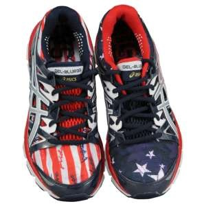asics red white and blue running shoes