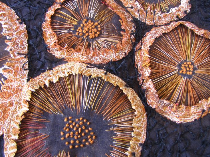 My rusty mushrooms:  Mushroom print -  hand & free motion stitched  - Lynn Nunn