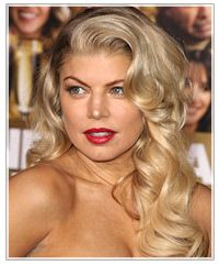 Fergie long hairstyle, side part, fancy, glamorous hair for a low forehead