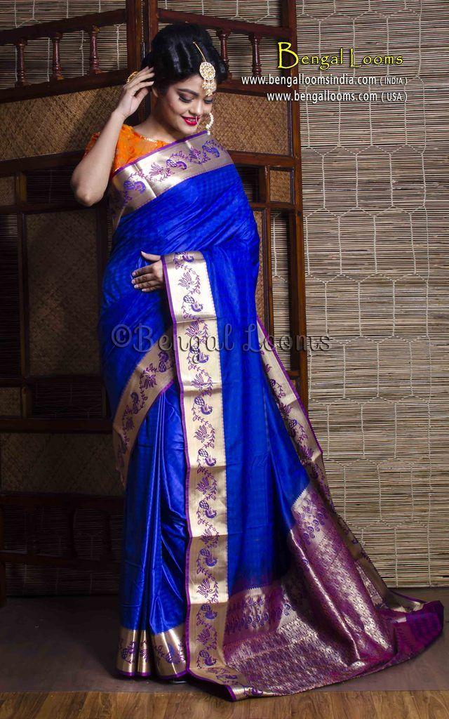 7607f19e1e Art Silk Kanjivaram Saree in Royal Blue and Purple | Kanjivaram Silk ...