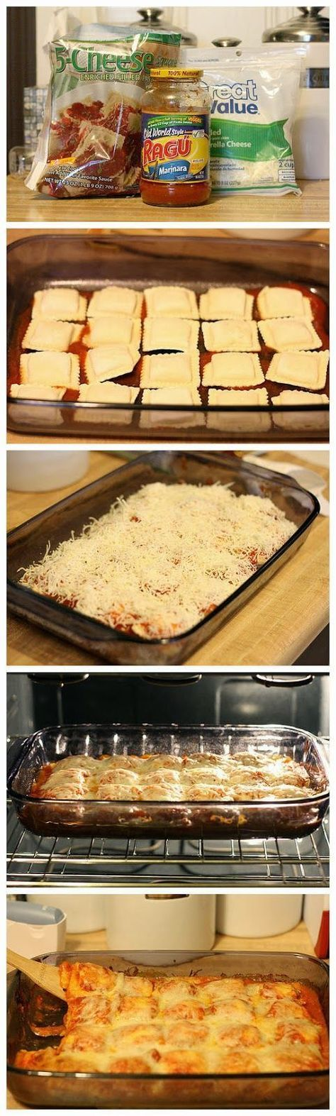 Baked Ravioli - 1 bag (25oz) Frozen Ravioli, 1 jar (26oz) Marinara, 2 cups Shredded Mozzarella, Parmesan for Sprinkling - Preheat oven 400°F. Spray 9x13 baking dish w/cooking spray. Spread 3/4 cup pasta sauce. Arrange half of frozen ravioli in single layer over sauce, top with half remaining pasta sauce.