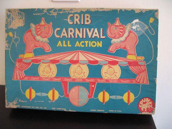 Crib Carnival. Midcentury crib action toy vtg nursery by fuzzandfu, $32.00