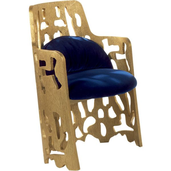 Zanaboni for Borbonese Arnaldo Gold Armchair 2 ($4,320) ❤ liked on Polyvore featuring home, furniture, chairs, gold, gold chair, blue furniture, arm rest chair, blue arm chair and abstract furniture