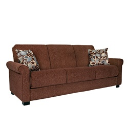 @Overstock - Comfortable and stylish, the transitional Rio Convert-a-Couch futon sofa features rolled arms and converts into a full size bed with the touch of a hand. The futon sofa is covered in a durable chenille fabric and works well in any decor.  http://www.overstock.com/Home-Garden/Rio-Convert-a-Couch-Brown-Chenille-Rolled-Arm-Futon-Sofa-Sleeper/5665073/product.html?CID=214117 $459.99