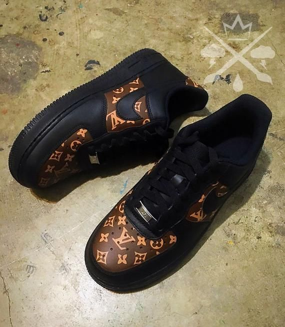 buy popular 00930 cf3b8 Black Nike Air Force 1 Low Louis Vuitton Custom with Angelus Leather Paint  All designs are